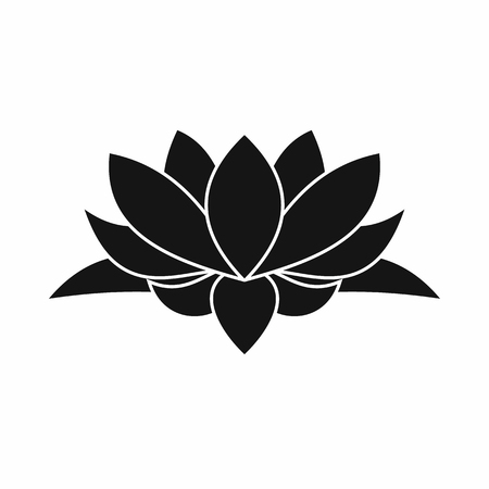 Lotus flower icon in simple style isolated on white background
