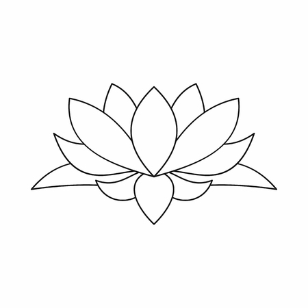 Lotus flower icon in outline style isolated on white background