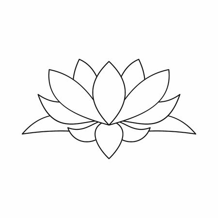 Lotus icono de la flor en el estilo de contorno aislado en el fondo blanco