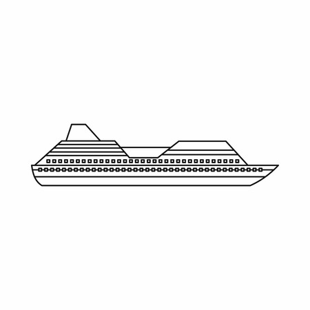 cruise liner: Cruise liner icon in outline style isolated on white background