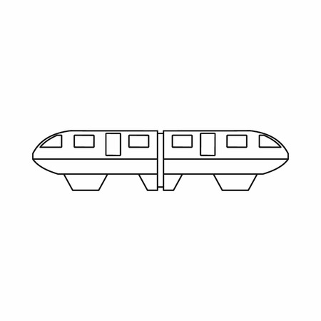 monorail: Monorail train icon in outline style isolated on white background
