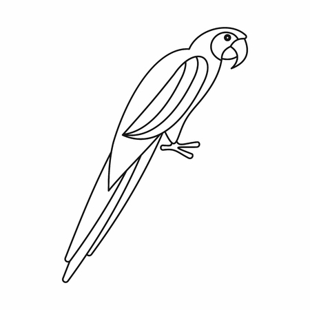 aviary: Parrot icon in outline style isolated on white background Illustration