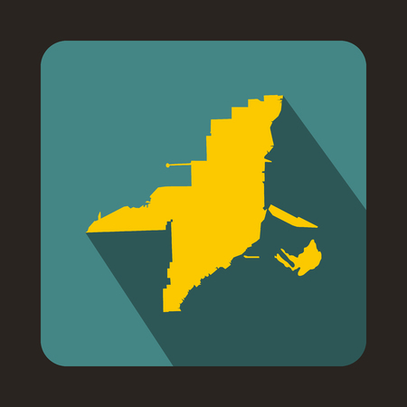 Florida yellow map icon in flat style on a bluegreen background