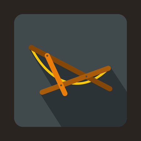 beatitude: Beach chaise icon in flat style on a gray background