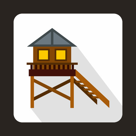 stilt house: Wooden stilt house icon in flat style on a white background