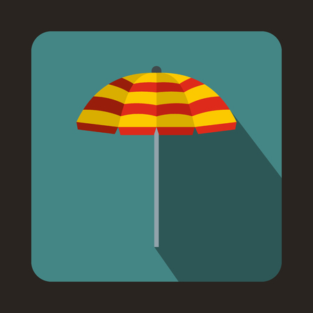 recline: Yellow and red beach umbrella icon in flat style on a bluegreen background Illustration