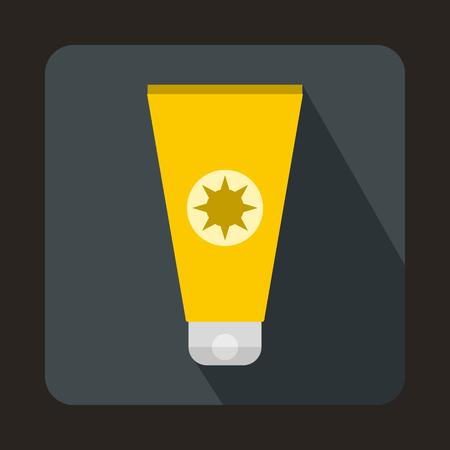 sunbathing: Tube with sunbathing cream icon in flat style on a gray background Illustration