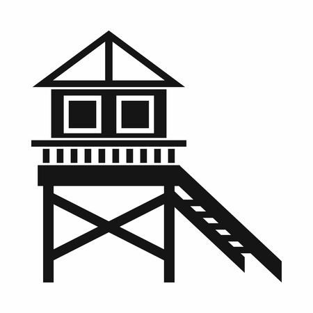 stilt: Wooden stilt house icon in simple style isolated on white background Illustration