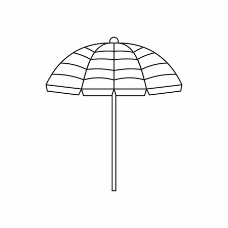 reclining: Beach umbrella icon in outline style isolated on white background Illustration