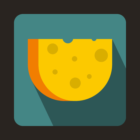 swiss cheese: Piece of Swiss cheese icon in flat style on a bluegreen background Illustration