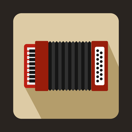 concertina: Red accordion icon in flat style on a beige background