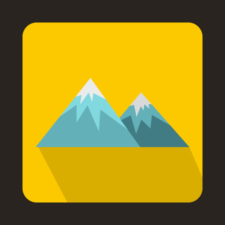 swiss alps: Swiss alps icon in flat style on a yellow background