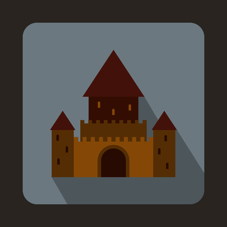 european alps: Chillon Castle, Switzerland icon in flat style on a gray background