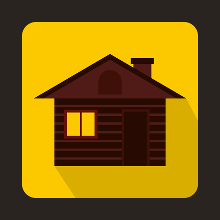 swiss alps: Wooden log house icon in flat style on a yellow background Illustration