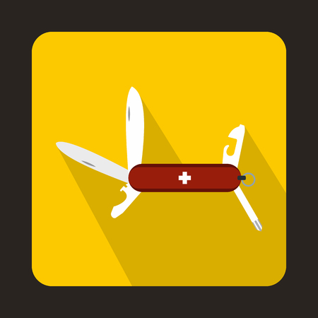 multipurpose: Swiss multipurpose knife icon in flat style on a yellow background