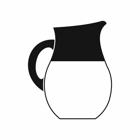 creamer: Pitcher of milk icon in simple style isolated on white background Illustration