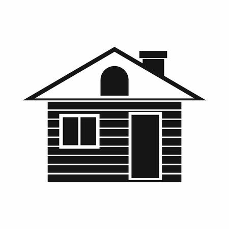 Wooden log house icon in simple style isolated on white background