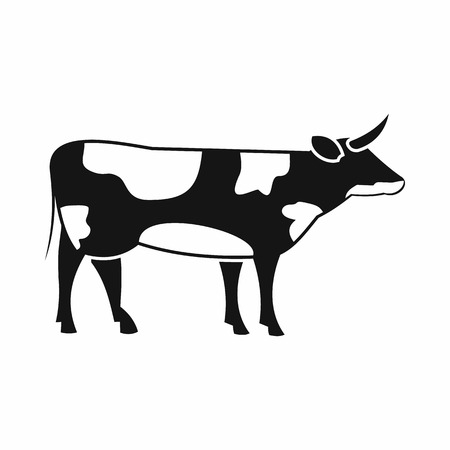 european alps: Switzerland cow icon in simple style isolated on white background
