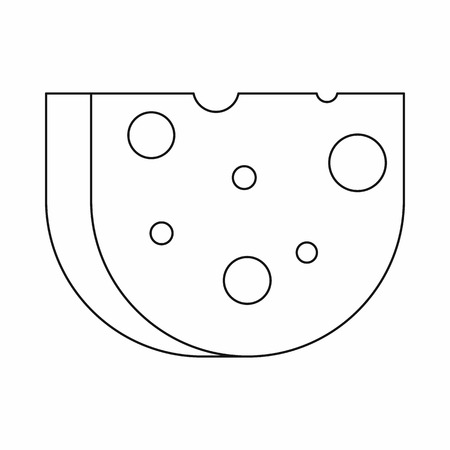 swiss cheese: Piece of Swiss cheese icon in outline style isolated on white background
