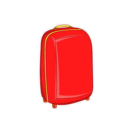 cartoon suitcase: Red travel suitcase icon in cartoon style on a white background Illustration
