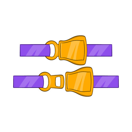 seatbelt: Aviation seat belt icon in cartoon style on a white background