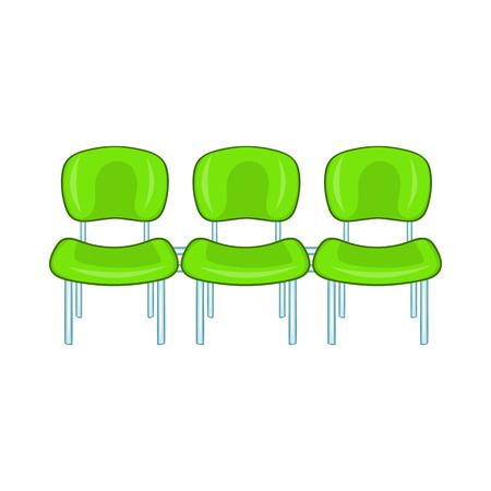 흰색 배경에 만화 스타일에 녹색 공항 좌석 아이콘