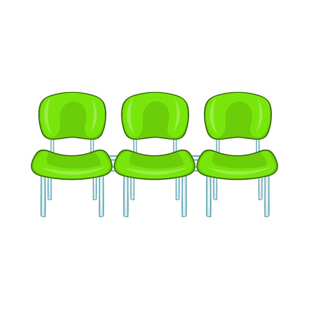 Green airport seats icon in cartoon style on a white background