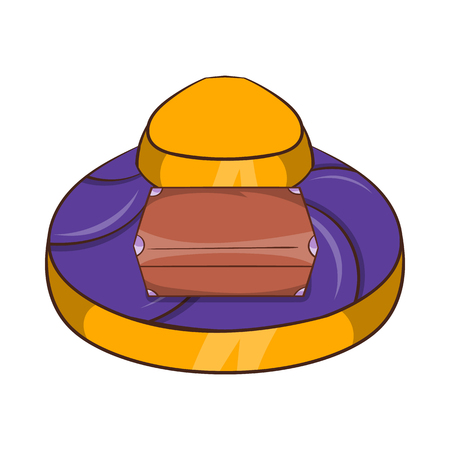 Baggage on conveyor belt at the airport icon in cartoon style on a white background