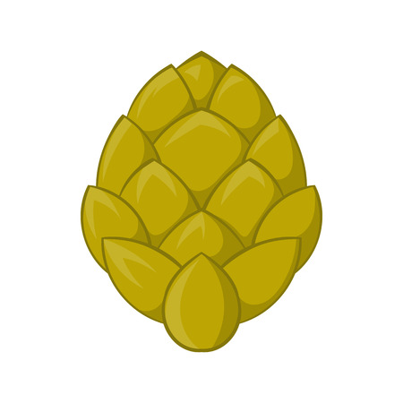 hop cone: Hop cone icon in cartoon style on a white background