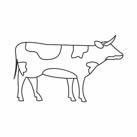 european alps: Switzerland cow icon in outline style isolated on white background Illustration