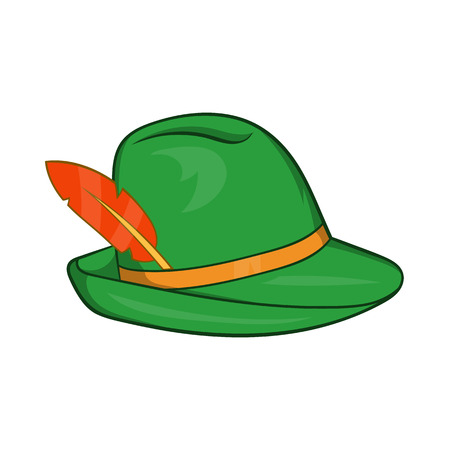 trachten: Green hat with a feather icon in cartoon style on a white background