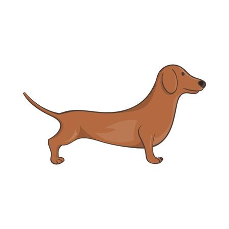 weiner: Brown dachshund dog icon in cartoon style on a white background