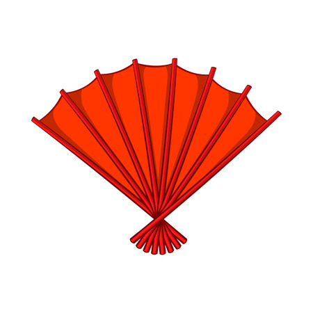 red fan: Red open hand fan icon in cartoon style on a white background