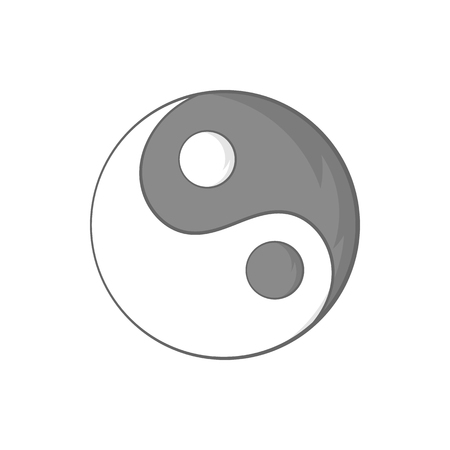 yang style: Yin Yang sign icon in cartoon style on a white background