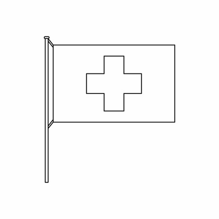 swiss insignia: Switzerland flag icon in outline style isolated on white background Illustration