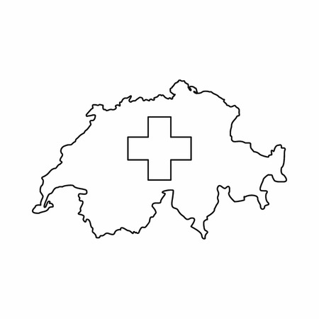 switzerland map icon in outline style isolated on white background vector