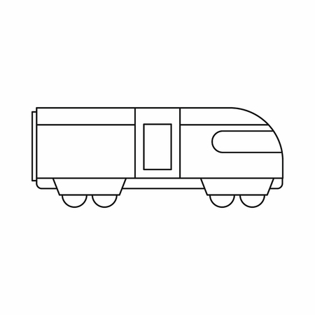 swiss alps: Swiss mountain train icon in outline style isolated on white background Illustration