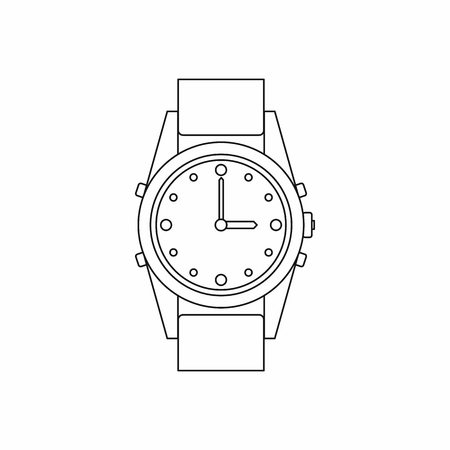 chronograph: Swiss watch icon in outline style isolated on white background Illustration