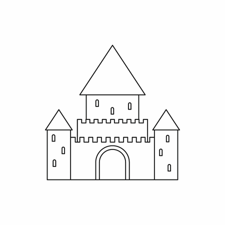 fortification: Chillon Castle, Switzerland icon in outline style isolated on white background Illustration