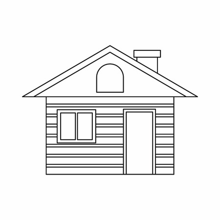 swiss alps: Wooden log house icon in outline style isolated on white background
