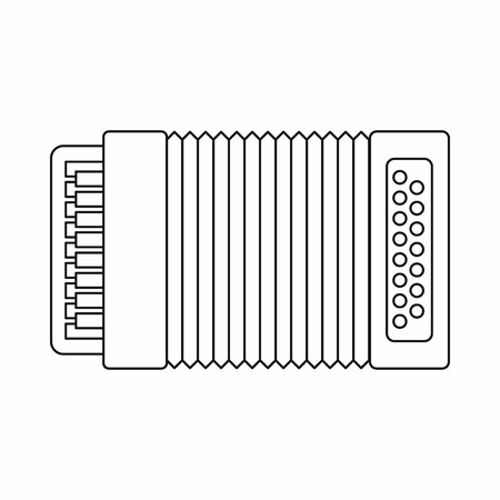 concertina: Accordion icon in outline style isolated on white background