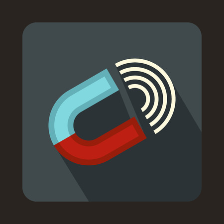 Horseshoe magnet icon in flat style on a gray background Illustration