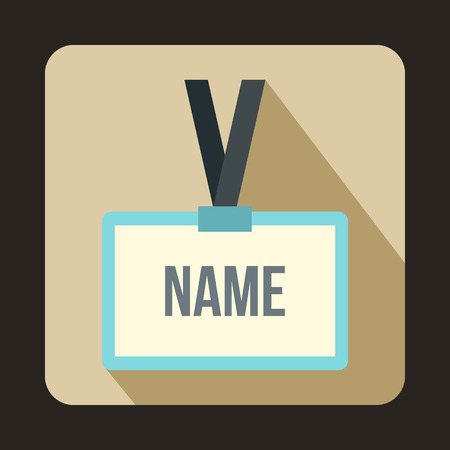 name badge: Plastic Name badge with gray neck strap icon in flat style on a beige background