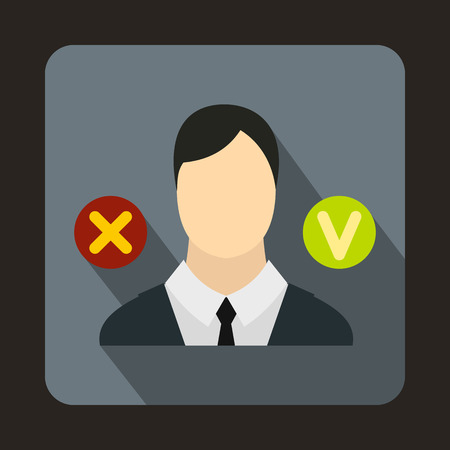 green tick: Businessman, green tick and red cross icon in flat style on a gray background Illustration