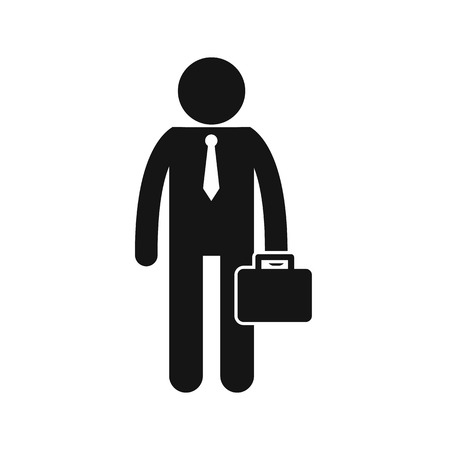 Businessman standing with his briefcase icon in simple style isolated on white background 免版税图像 - 59052392