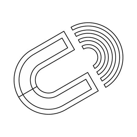 polarize: Horseshoe magnet icon in outline style isolated on white background