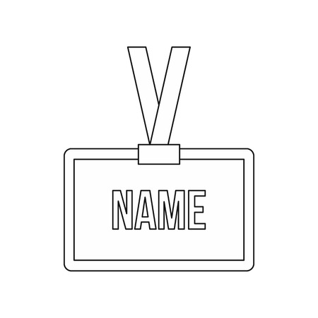 name badge: Plastic Name badge with neck strap icon in outline style isolated on white background