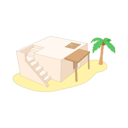 sunroof: Egyptian house icon in cartoon style on a white background