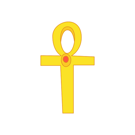 Egyptian Ankh icon in cartoon style on a white background