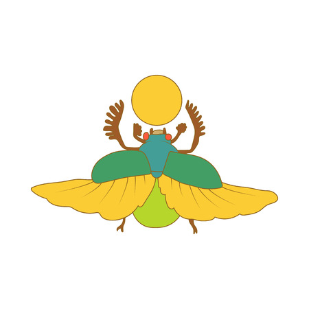 scarab: Egyptian sacred bug a scarab a symbol of the sun icon in cartoon style on a white background